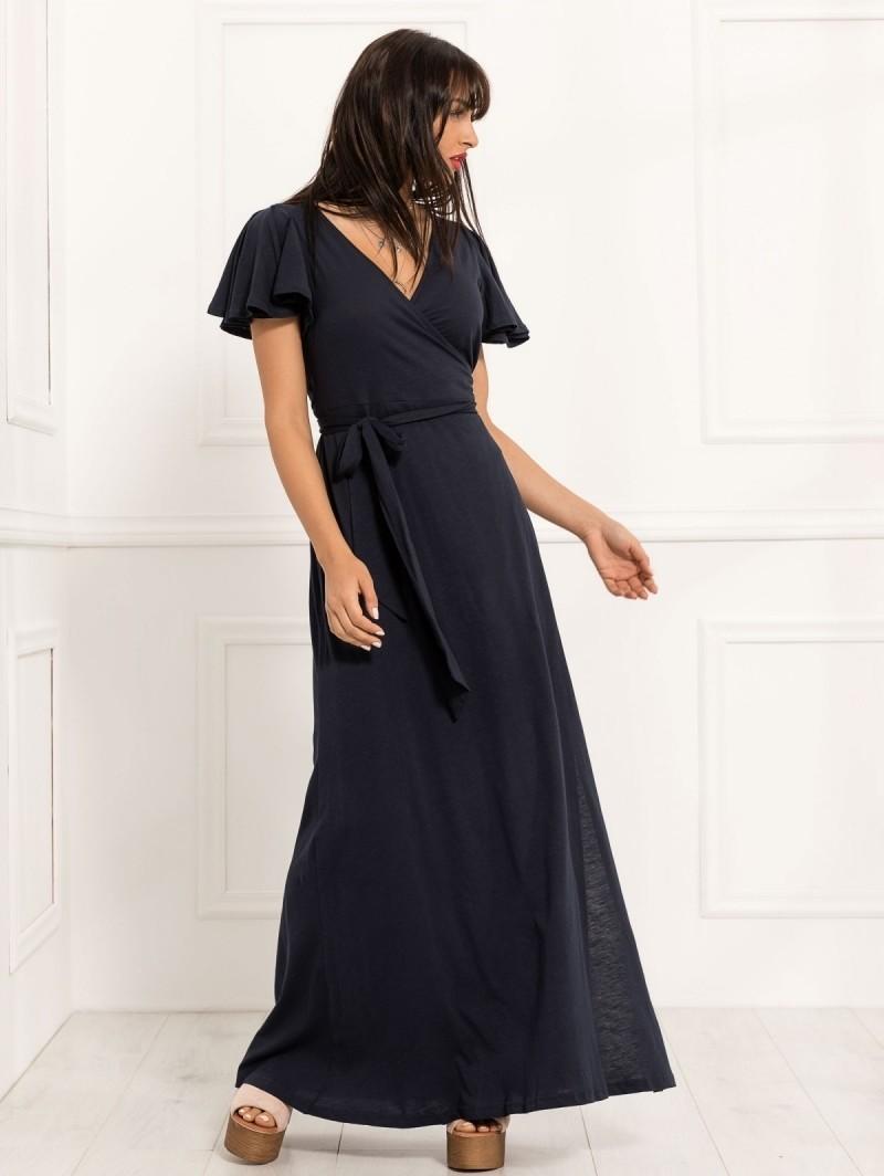 660f57fee614 Δετό maxi κρουαζέ φόρεμα - Μπλε σκούρο - TheFashionProject
