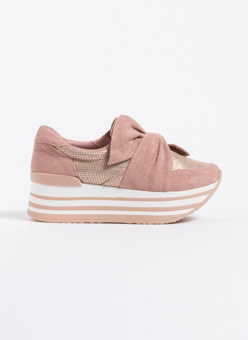 7448b589256 Δίπατα slip-on sneakers με φιόγκο - Ροζ - TheFashionProject