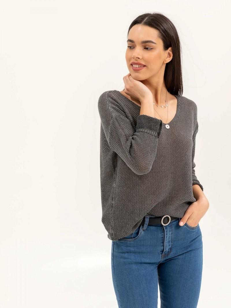 Ελαφριά μπλούζα με αραιή πλέξη - Ανθρακί - TheFashionProject ece280fa619