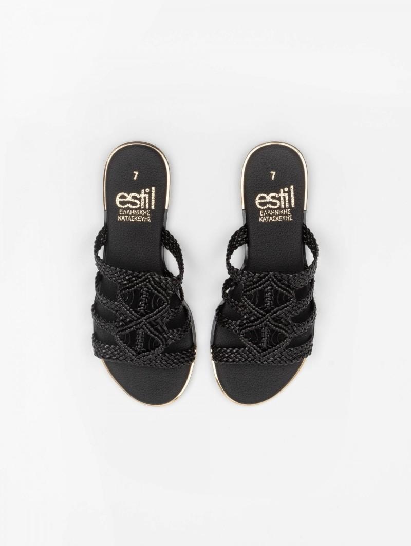 84929e1cca Estil boho σανδάλια με πλεκτό σχέδιο - Μαύρο - TheFashionProject