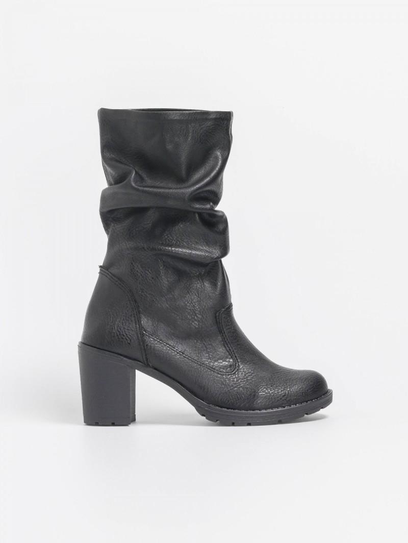 bd8aed74e47 Estil casual μποτάκια με σόλα και τακούνι από λάστιχο - Μαύρο ...