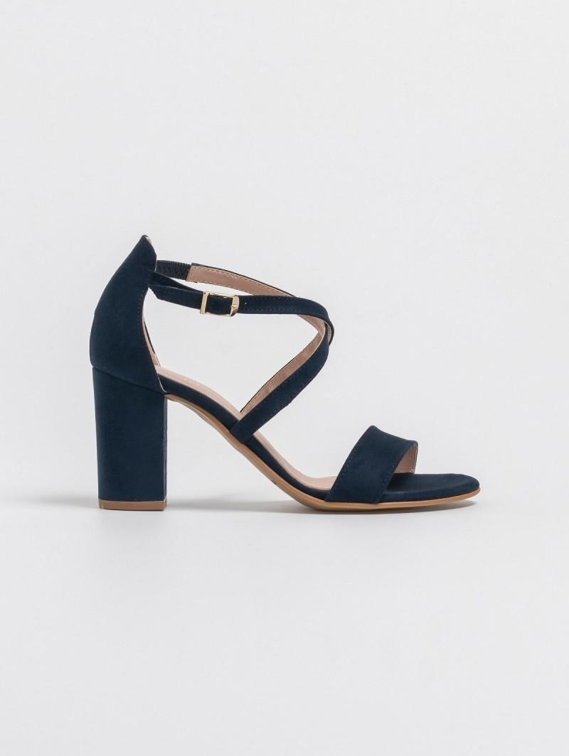 55e7cab99e Estil suede block heel πέδιλα με χιαστί λουράκια - Μπλε σκούρο ...