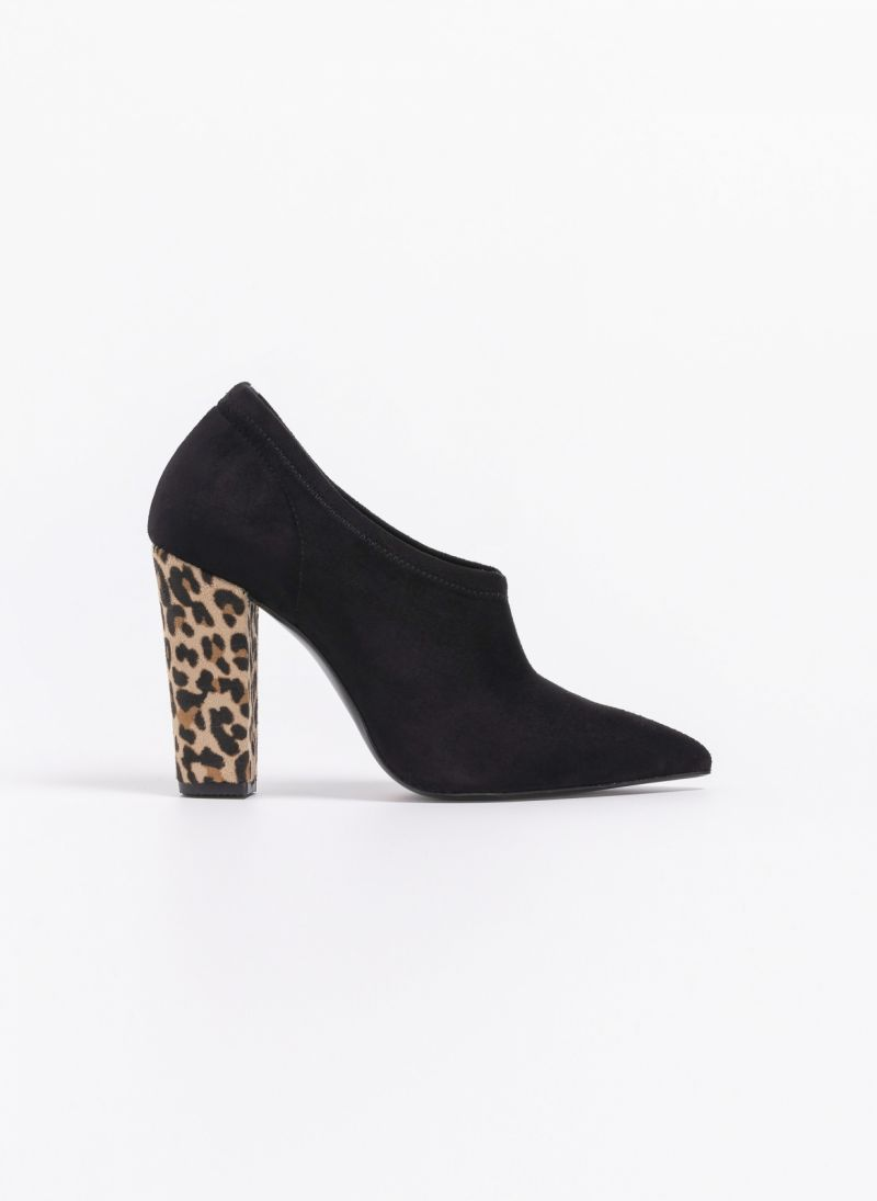 329ddbee474 Estil suede γόβα/μποτάκι με leopard τακούνι - Μαύρο - TheFashionProject