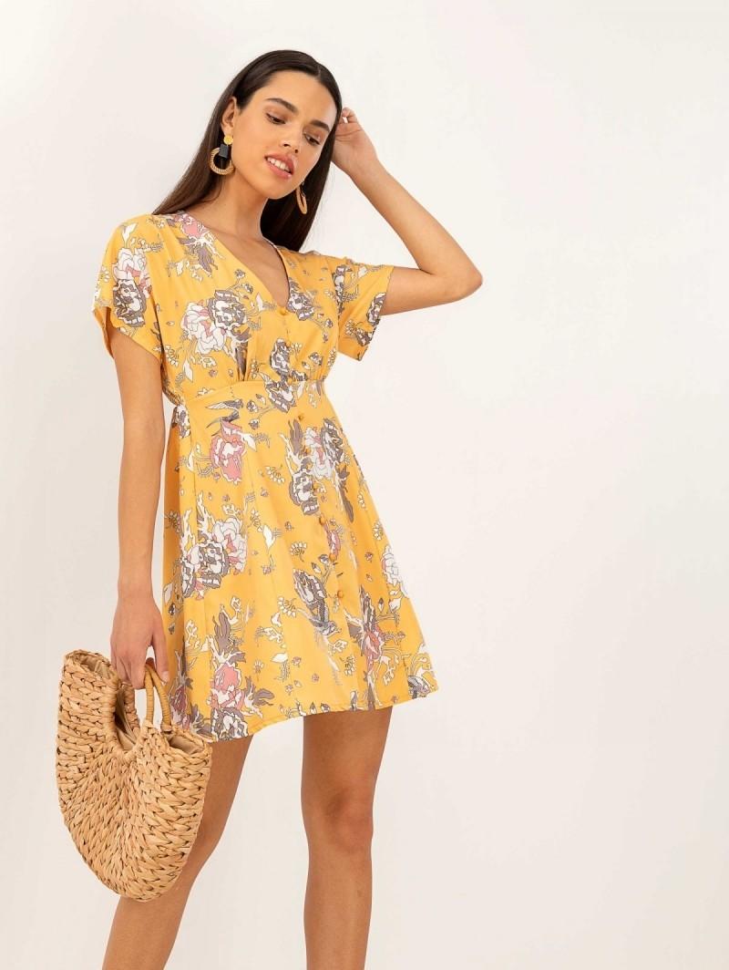 5af2c3a8fcf2 Floral φόρεμα - Μουσταρδί - TheFashionProject