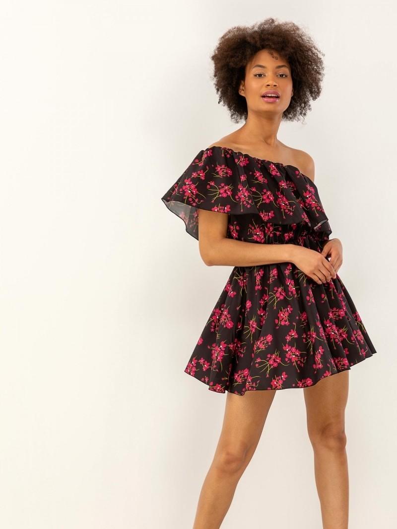348a4843b52e Floral φόρεμα με έναν ώμο - Μαύρο - TheFashionProject