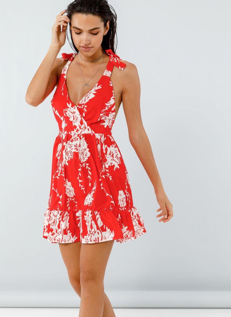 1e5f942416f Girly floral φόρεμα γραμμή άλφα - Κόκκινο - TheFashionProject
