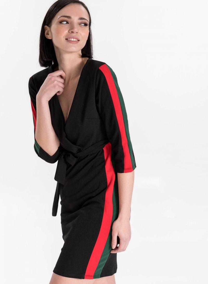6e4cc206cc48 Φόρεμα κρουαζέ με ζωνάκι - Μαύρο - TheFashionProject