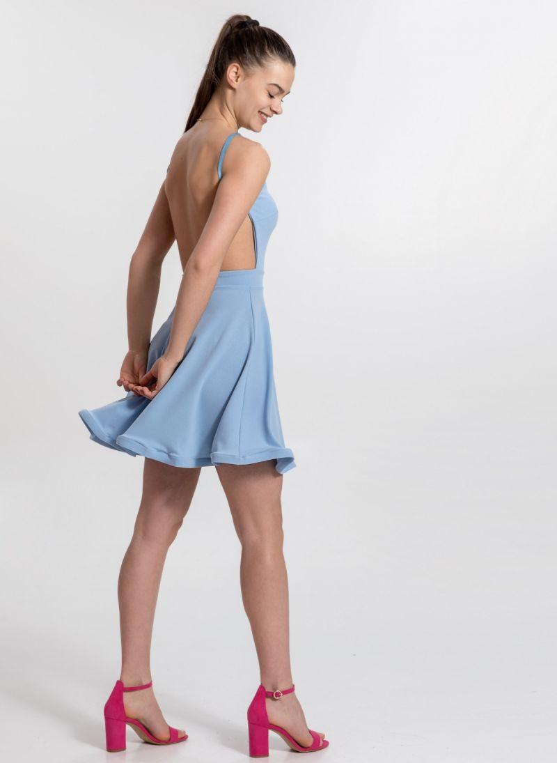 27ace61480f7 Φόρεμα με ανοιχτή πλάτη και wavy τελείωμα - Γαλάζιο - TheFashionProject