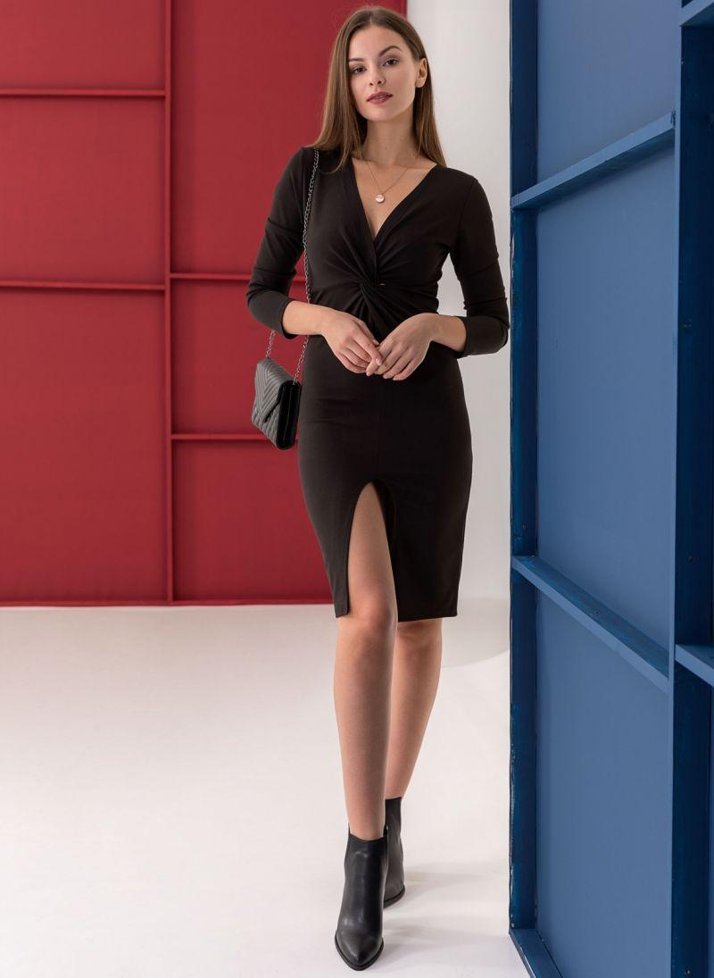 10b7f739ce0 Φόρεμα με κρουαζέ σχέδιο στο μπούστο - Μαύρο - TheFashionProject