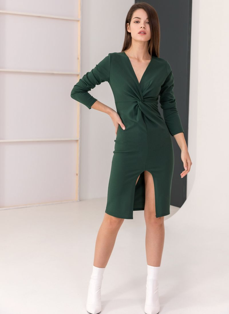 15f031dcdd7 Φόρεμα με κρουαζέ σχέδιο στο μπούστο - Κυπαρισσί - TheFashionProject