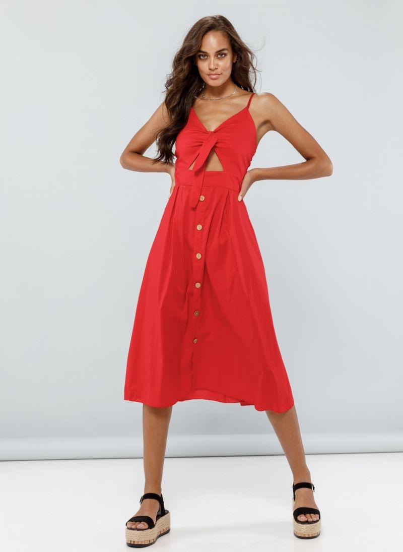 f4c4b2cdf285 Φόρεμα midi με άνοιγμα στο μπούστο - Κόκκινο - TheFashionProject