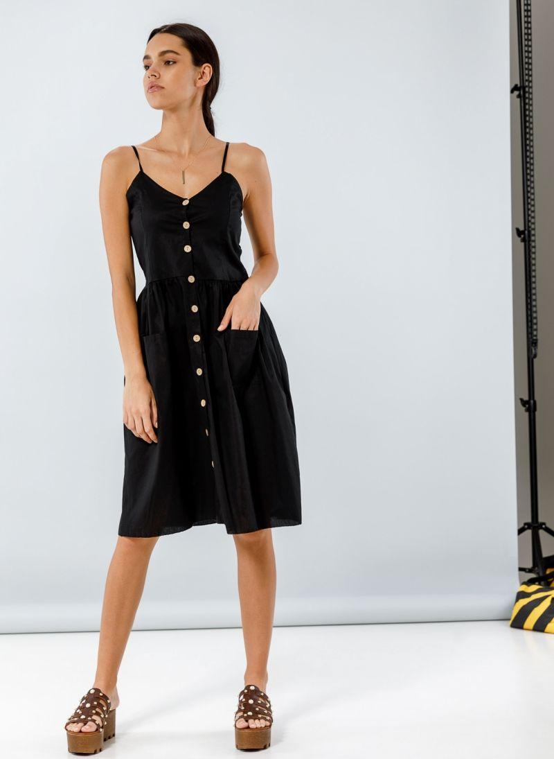 de2ae616f8d5 Φόρεμα ποπλίνα με ξύλινα κουμπιά - Μαύρο - TheFashionProject