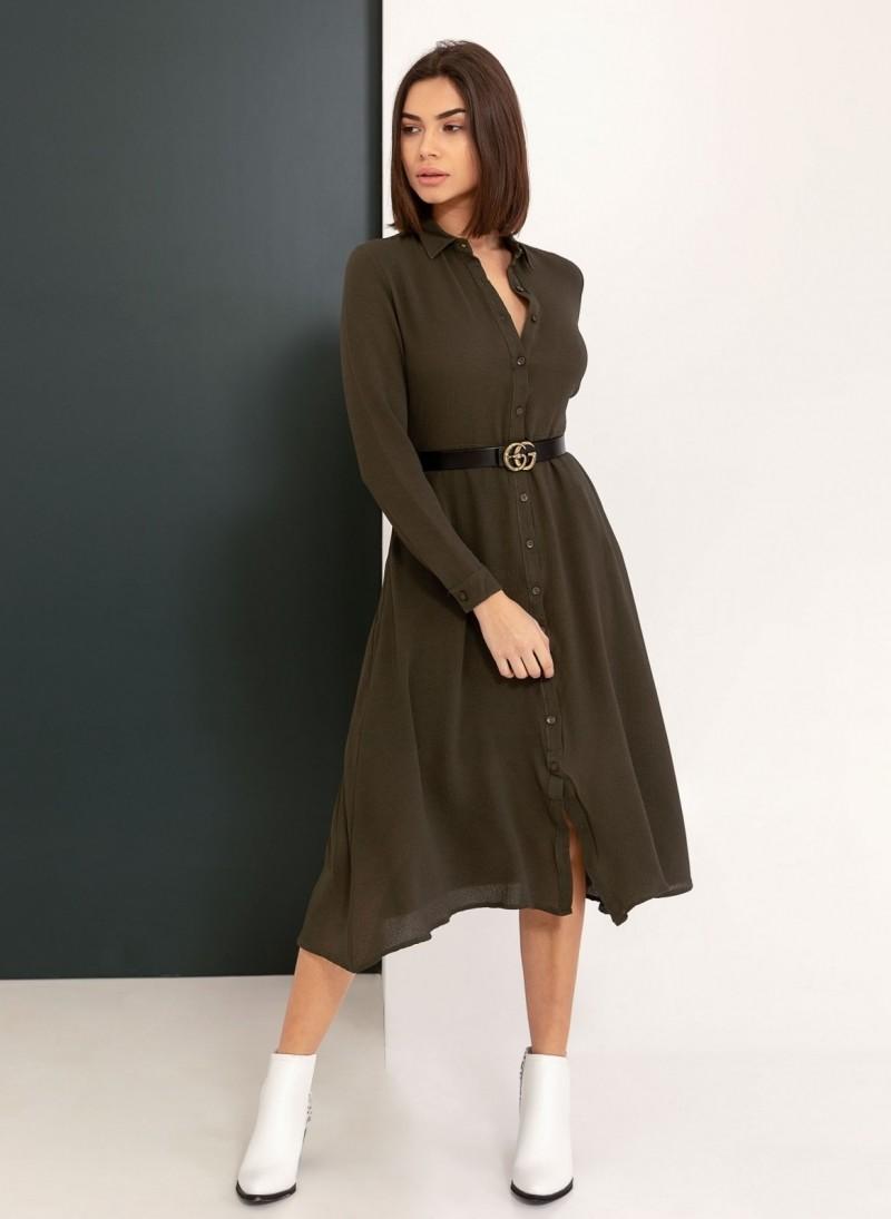 bfdb455bb46c Φόρεμα πουκάμισο με τσέπες - Χακί - TheFashionProject