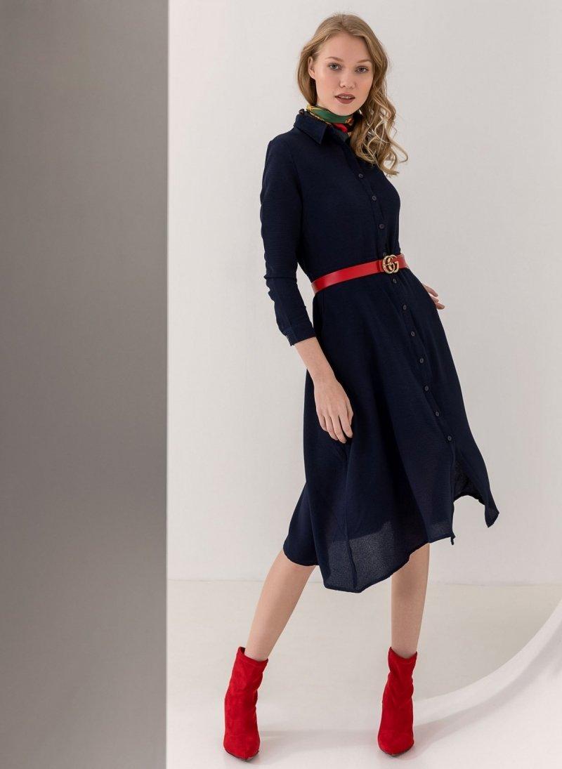 2ba06e9732fb Φόρεμα πουκάμισο με τσέπες - Μπλε σκούρο - TheFashionProject