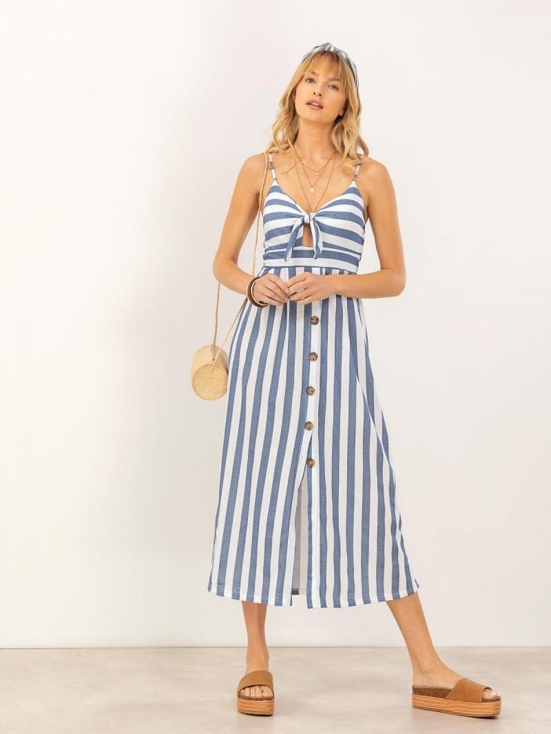 8e03100a869f Φόρεμα ριγέ με κουμπιά - Μπλε - TheFashionProject