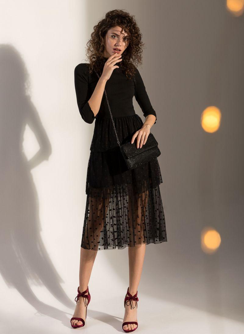 Φόρεμα ριπ με πουά τούλι - Μαύρο - TheFashionProject 67bfb294a67