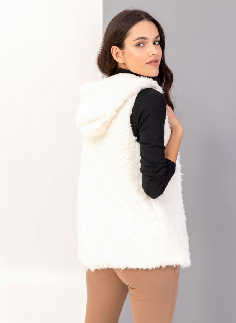Γούνινο γιλέκο με fleece επένδυση - Λευκό - TheFashionProject 67b7ab997b8