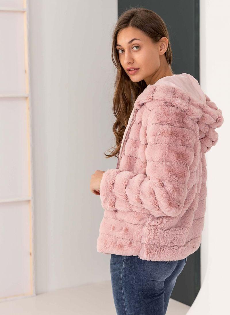 Γούνινο μπουφάν με κουκούλα - Ροζ - TheFashionProject d63e44d1661