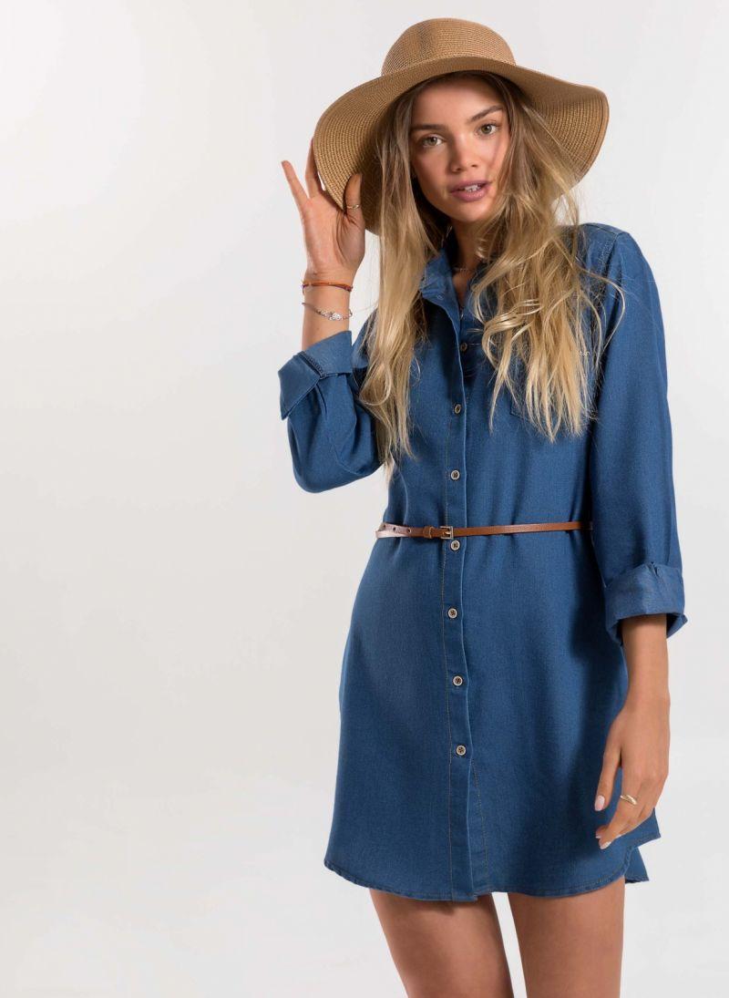 0f6b75747097 Jean φόρεμα/πουκάμισο με τσέπες - Μπλε jean - TheFashionProject