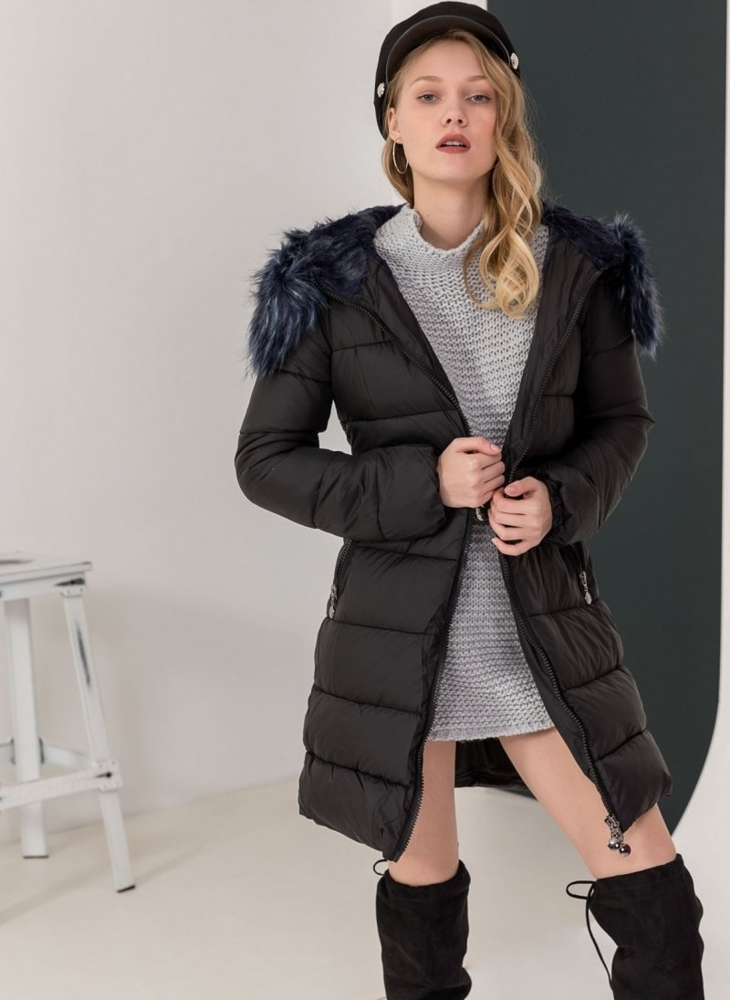 Καπιτονέ μπουφάν με επένδυση από γούνα - Μαύρο - TheFashionProject 5877e249b60