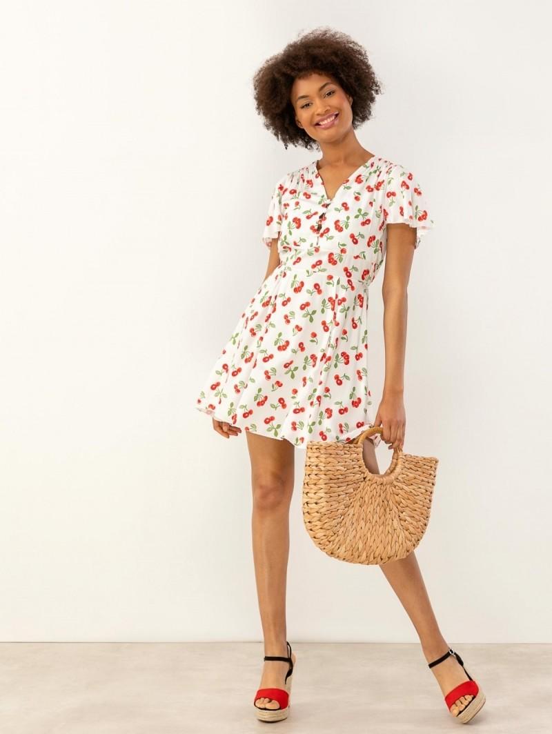 06988100f27b Κοντομάνικο φόρεμα με κεράσια - Λευκό Κόκκινο - TheFashionProject
