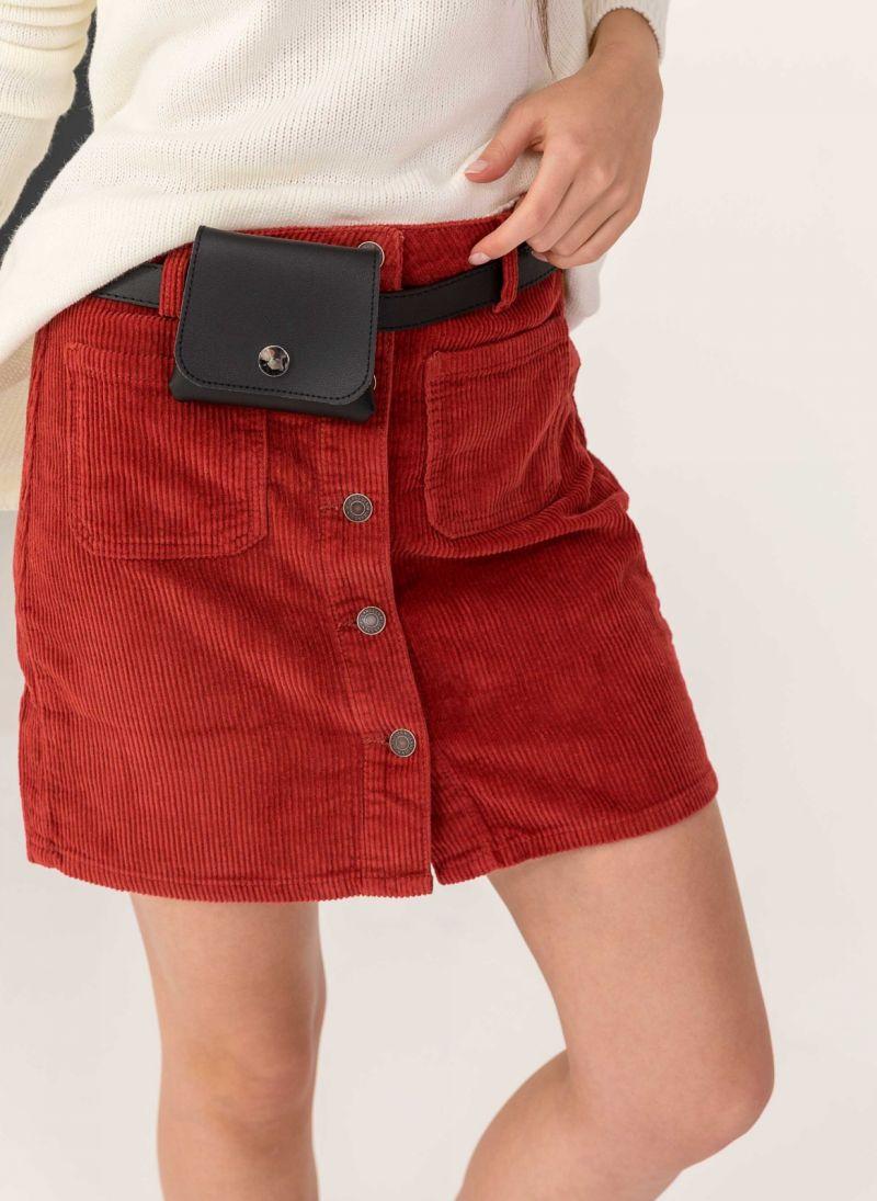 Κοτλέ mini φούστα με κουμπιά - Μπορντό - TheFashionProject 37b2d093043
