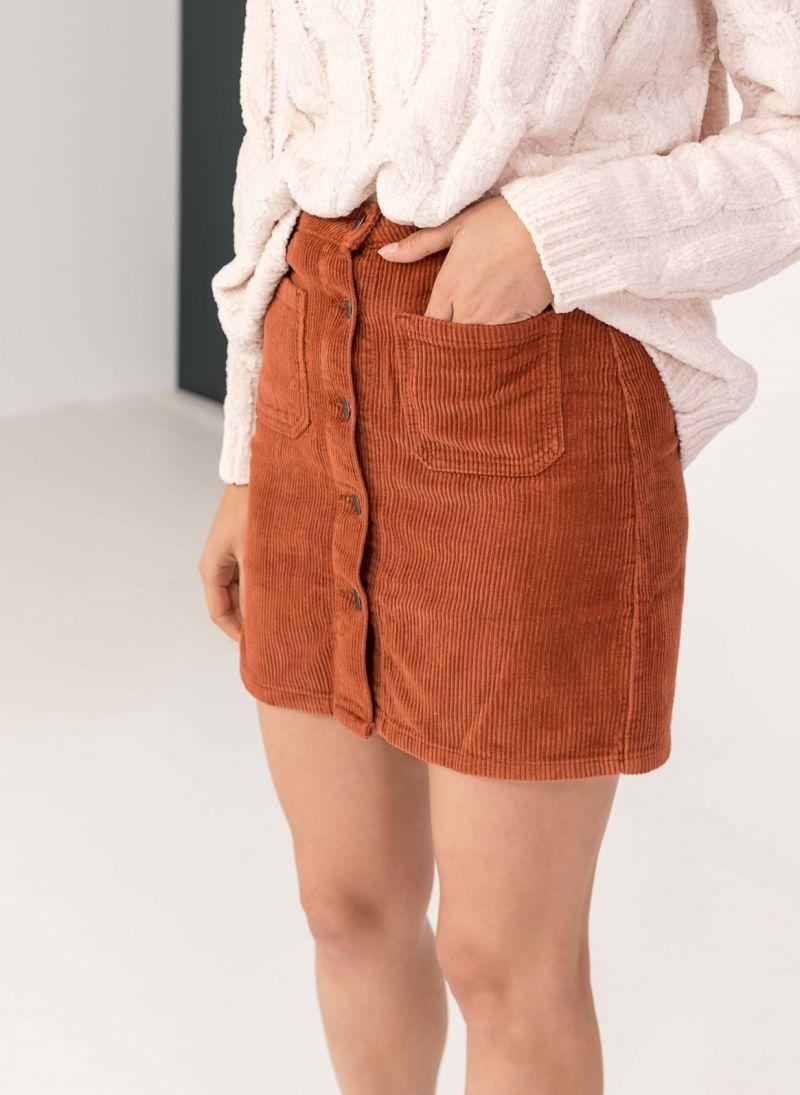 Κοτλέ mini φούστα με κουμπιά - Κεραμιδί - TheFashionProject e2cca6d4514