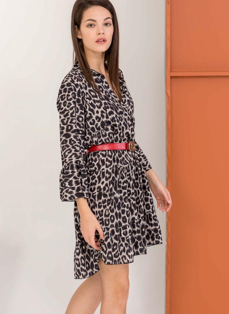 ece431c2a835 Leopard φόρεμα με μανίκι 3 4 - Μαύρο - TheFashionProject