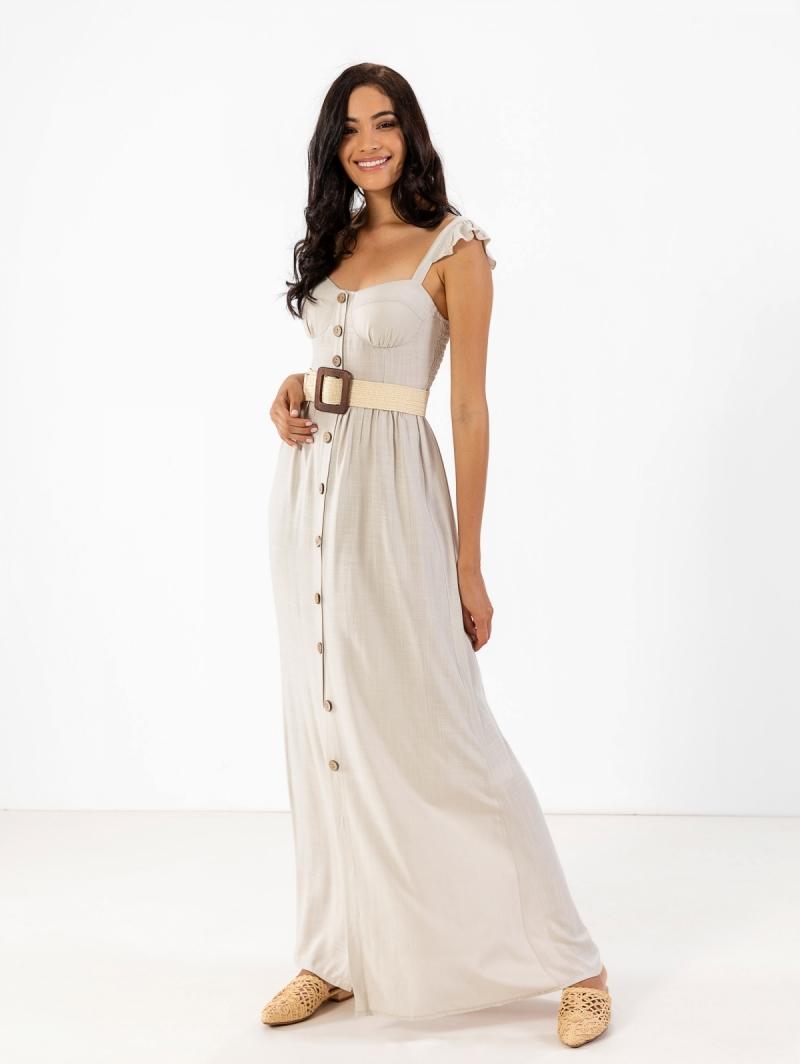 3323676b996 Λινό maxi φόρεμα με λεπτό βολάν στους ώμους - Μπεζ