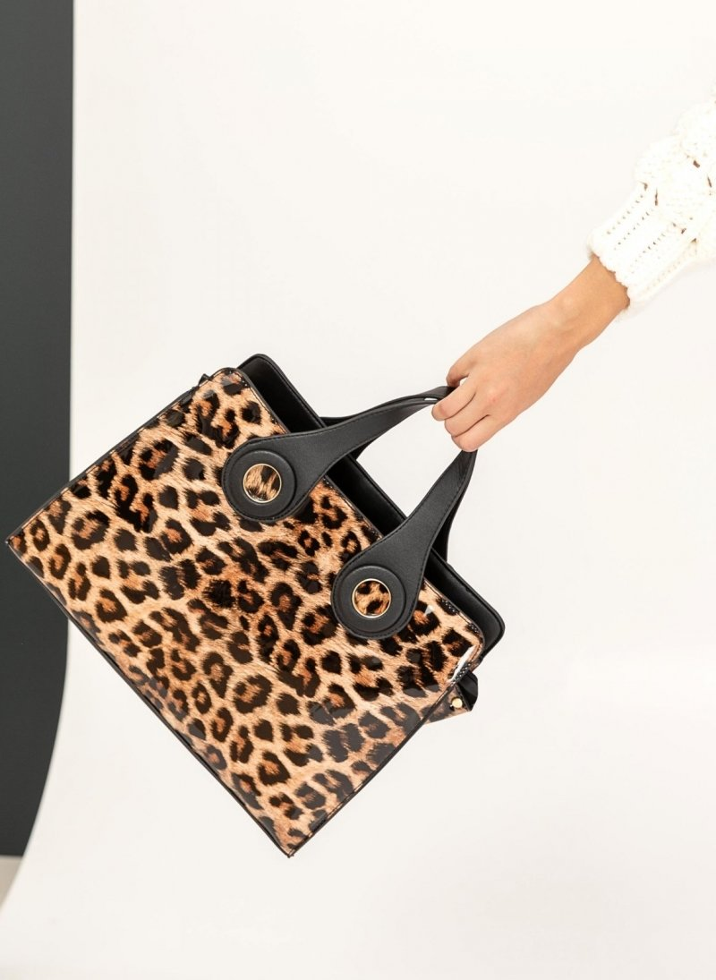 45110ec10a Λουστρίνι leopard τσάντα χειρός - Κάμελ - TheFashionProject