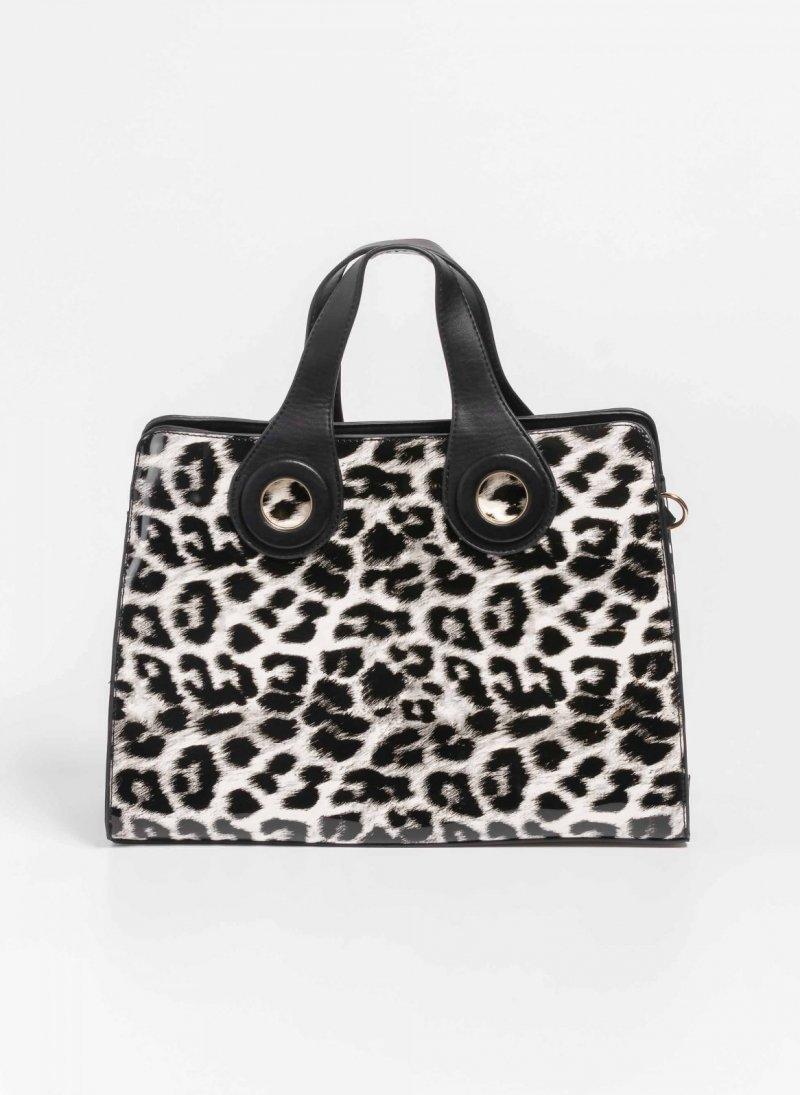 0125103ede Λουστρίνι leopard τσάντα χειρός - Λευκό Μαύρο - TheFashionProject