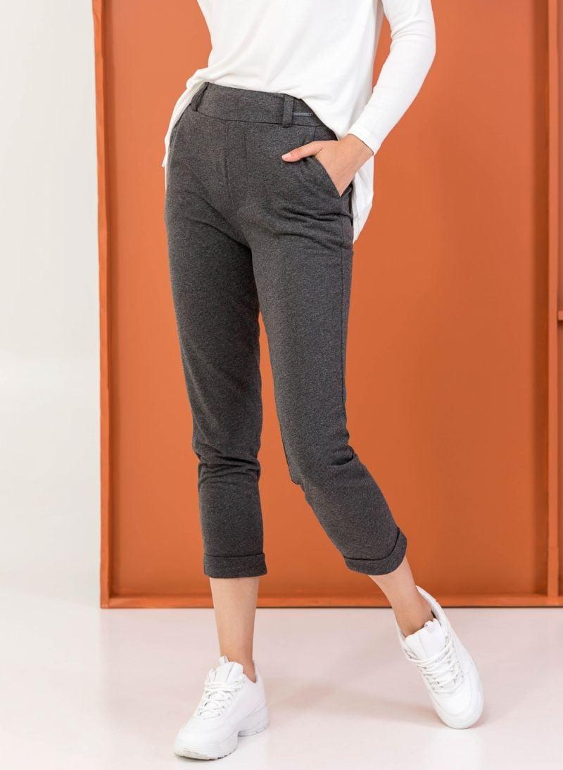 7d8def936d0 Μακό παντελόνι-φόρμα με ρεβέρ - Γκρι - TheFashionProject