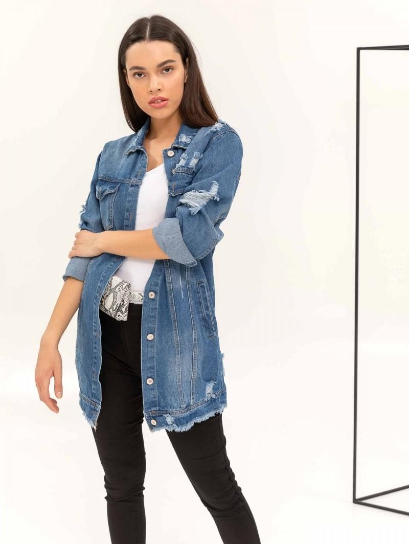 Μακρύ τζιν jacket με σκισίματα - Μπλε jean - TheFashionProject abc4f83e45c