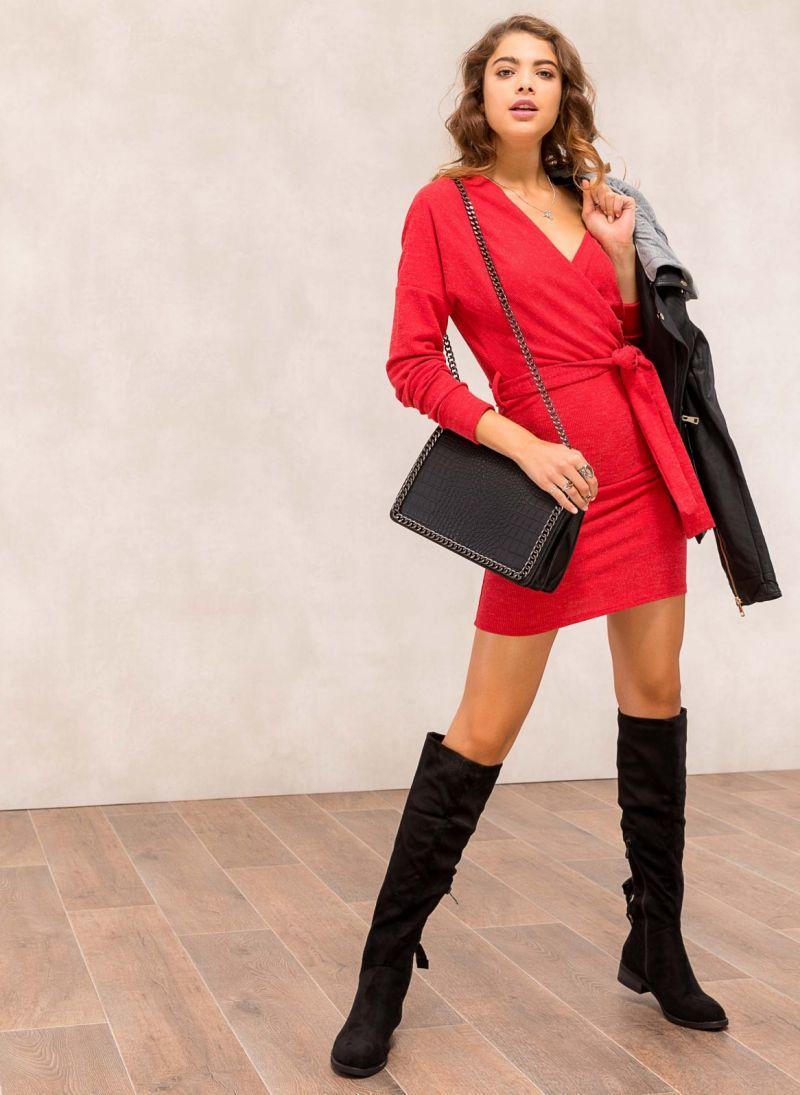 Μάλλινο κρουαζέ φόρεμα - Κόκκινο - TheFashionProject c3105bb0e51