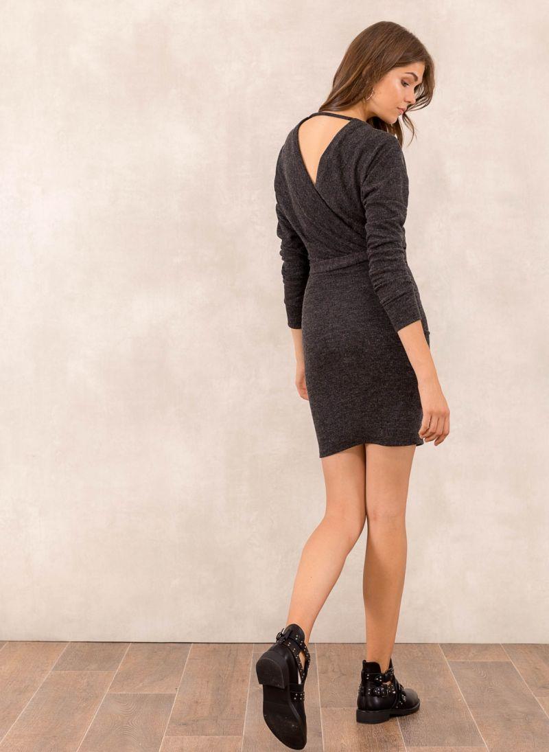 850192872614 Μάλλινο κρουαζέ φόρεμα - Ανθρακί - TheFashionProject