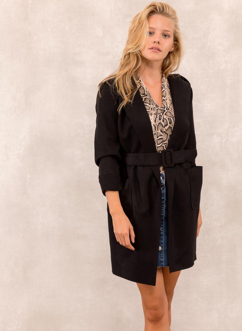 Μάλλινο παλτό με κουκούλα - Μαύρο - TheFashionProject d6e017538f5