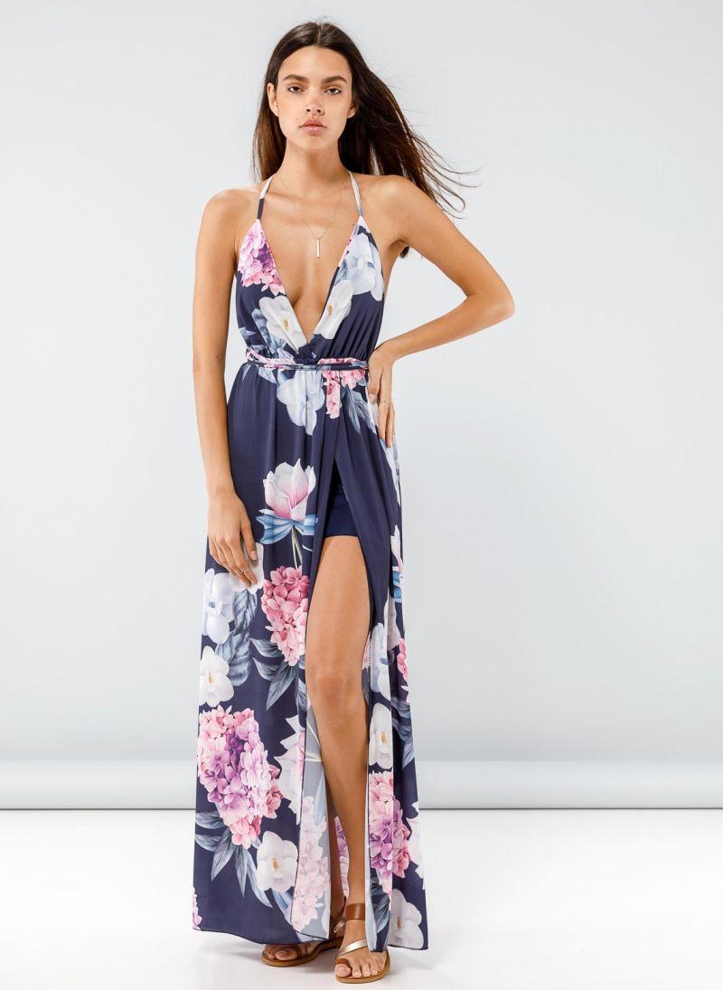8a643089619d Maxi floral κρουαζέ φόρεμα με άνοιγμα μπροστά - Μπλε σκούρο ...