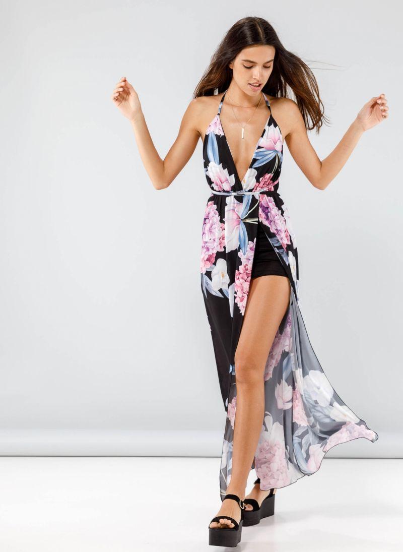 3d373b6cedda Maxi floral κρουαζέ φόρεμα με άνοιγμα μπροστά - Multi ...