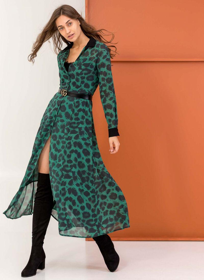 898b8979d7 Maxi φόρεμα με animal print - Πράσινο - TheFashionProject