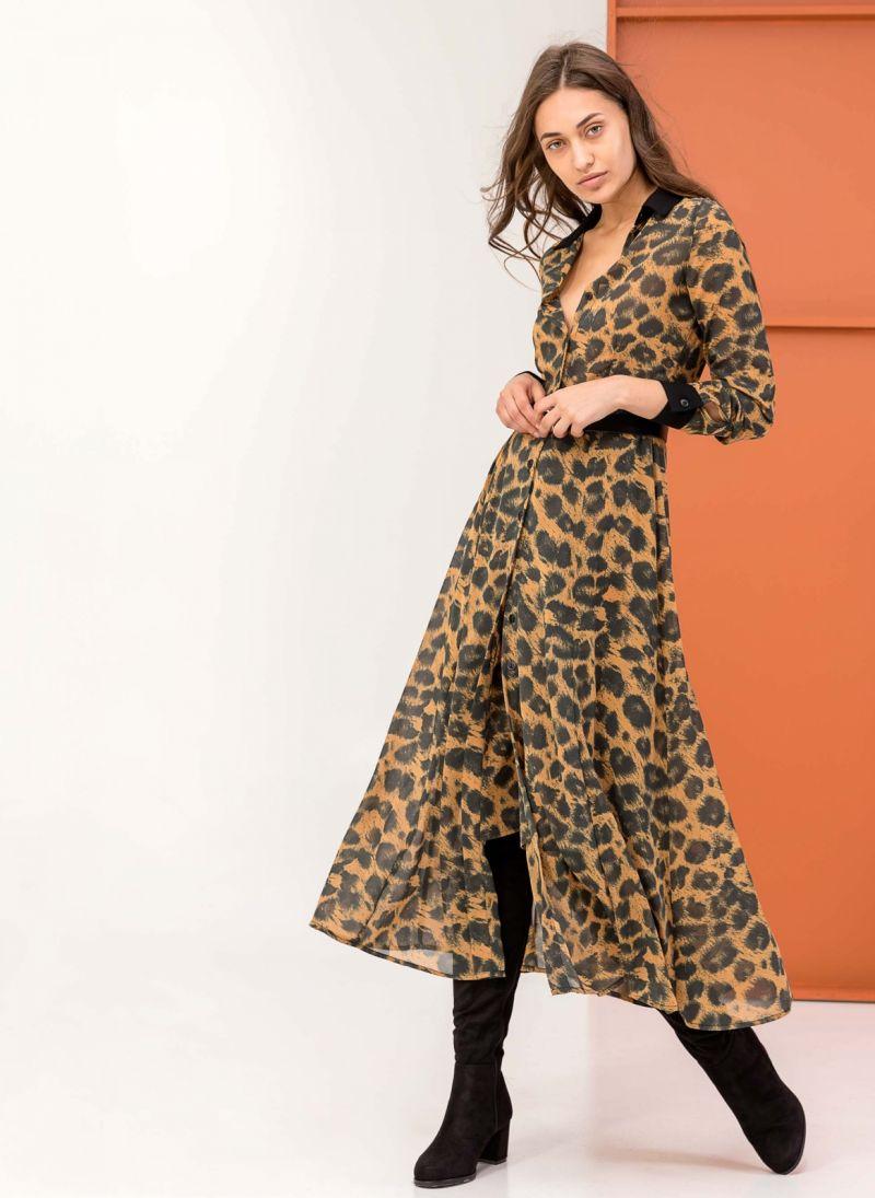 2cb83d8bc72d Maxi φόρεμα με animal print - Μουσταρδί - TheFashionProject