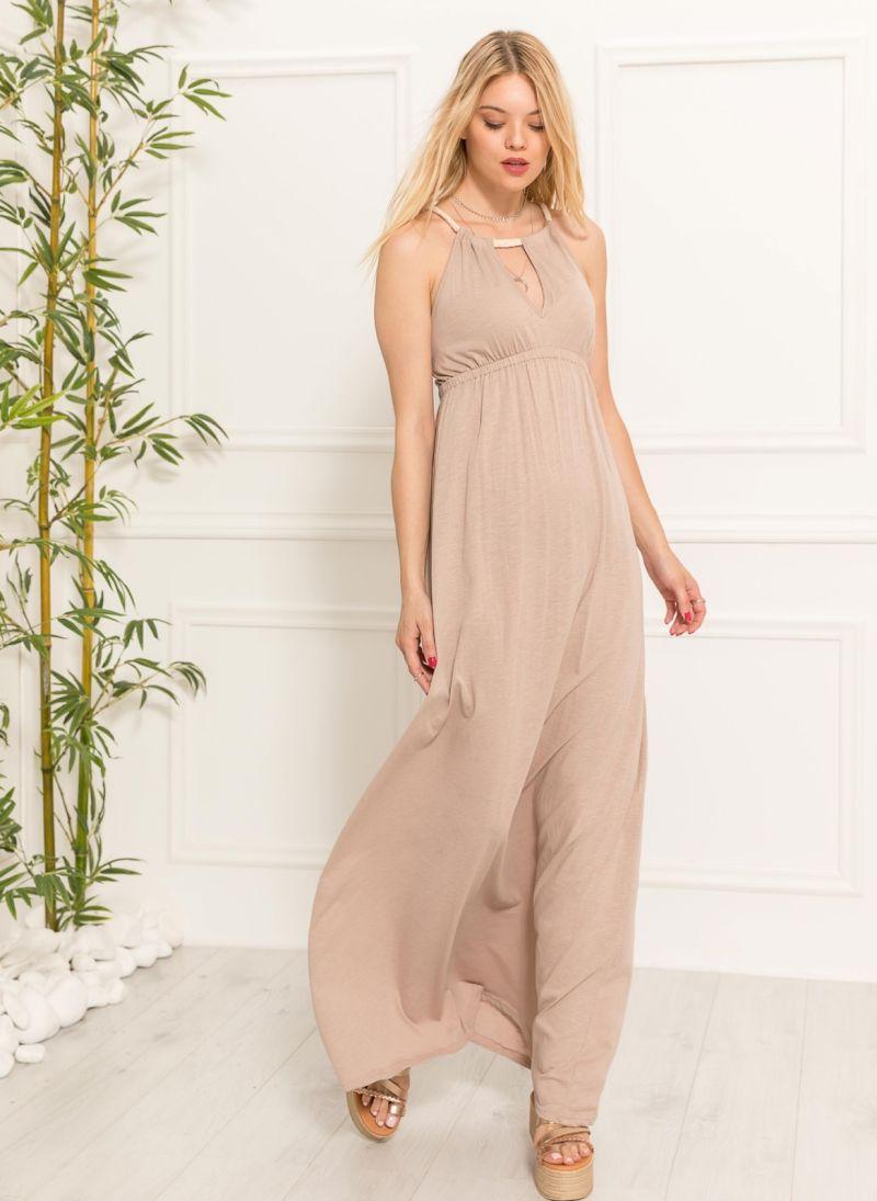 cfe93111c462 Maxi φόρεμα με δέσιμο - Μπεζ - TheFashionProject