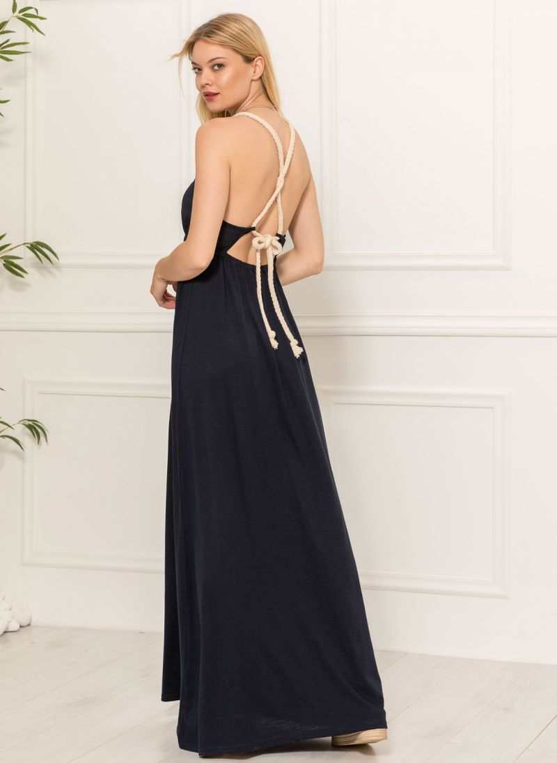Maxi φόρεμα με δέσιμο - Μπλε σκούρο - TheFashionProject d704ed13d36