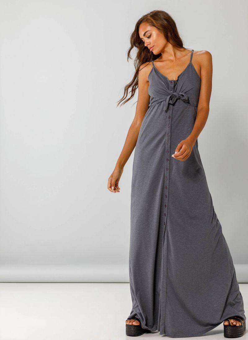Maxi φόρεμα με δέσιμο στο στήθος - Ανθρακί - TheFashionProject d02e86dcc0e