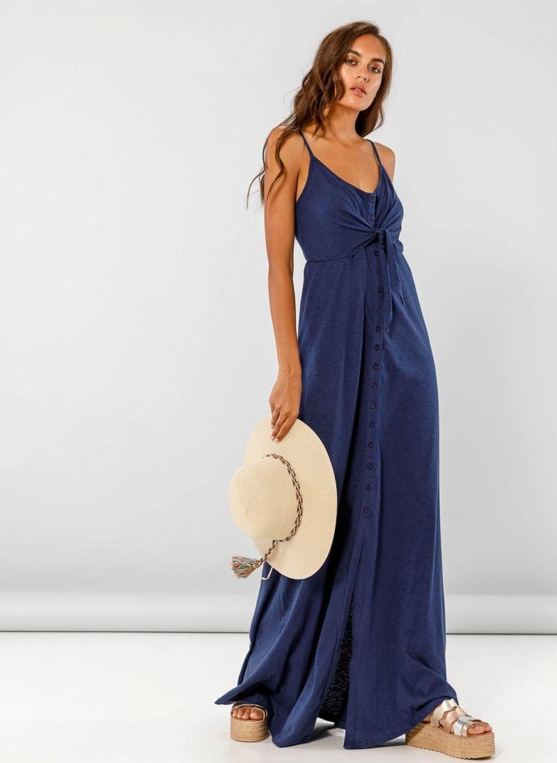 Maxi φόρεμα με δέσιμο στο στήθος - Μπλε - TheFashionProject 8b43c993797