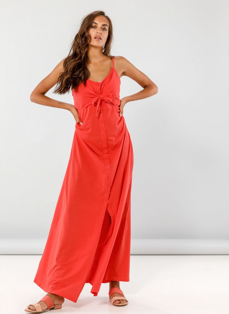 Maxi φόρεμα με δέσιμο στο στήθος - Κοραλί - TheFashionProject 01ae89a8923