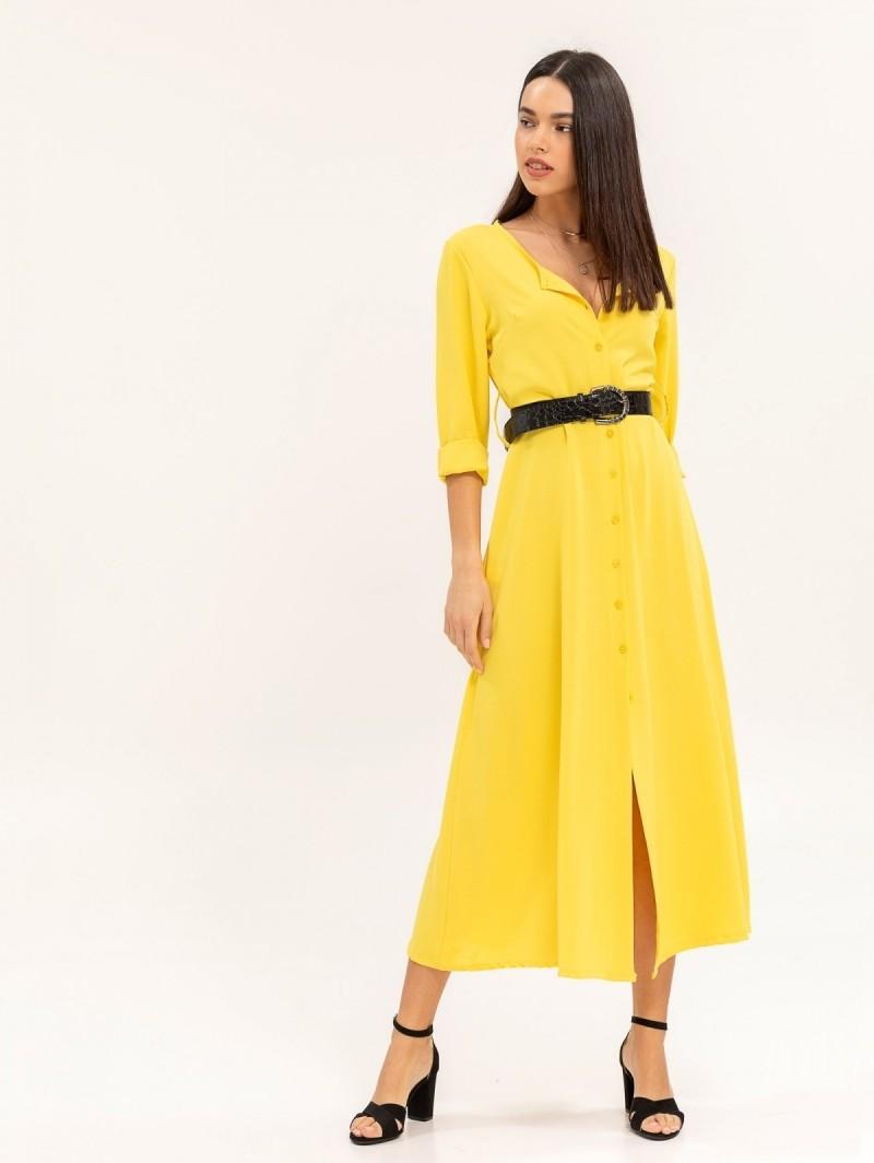 b0693226fc07 Maxi φόρεμα με κροκό ζώνη - Κίτρινο - TheFashionProject
