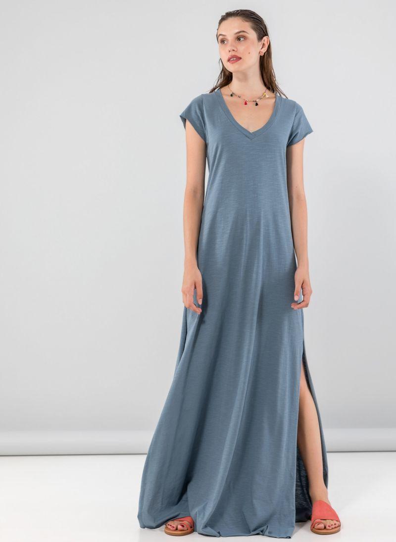 136d50190964 Maxi φόρεμα με λαιμόκοψη - Petrol - TheFashionProject