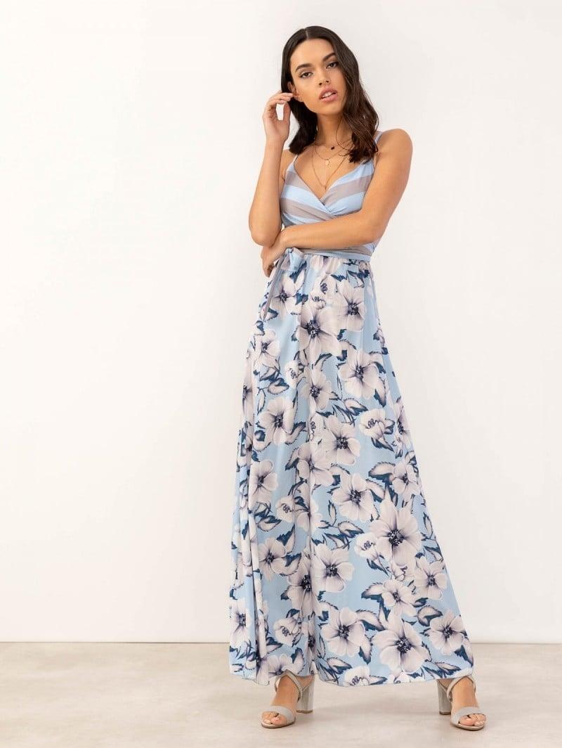 76f9f1a50c00 Maxi φόρεμα με floral pattern - Γαλάζιο - TheFashionProject
