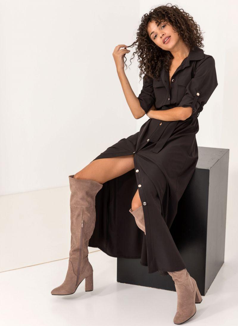 78b90f4ef78c Maxi φόρεμα πουκάμισο - Μαύρο - TheFashionProject