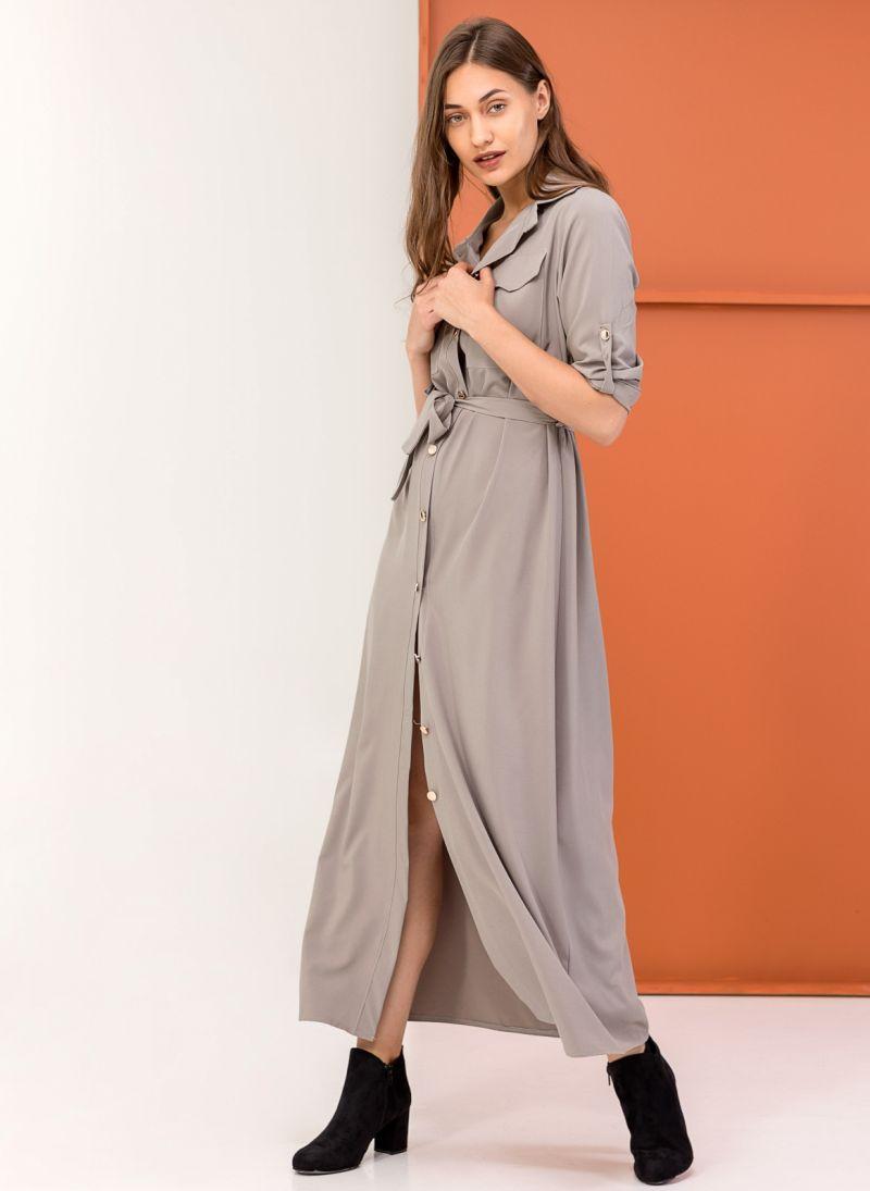 Maxi φόρεμα πουκάμισο - Γκρί - TheFashionProject ca895b24a01